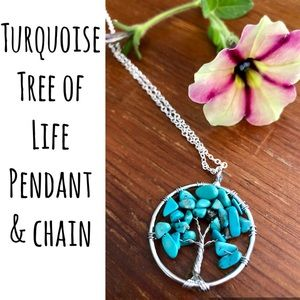 Turquoise Necklace Tree Of Life Pendant/Chain